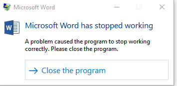 Office word stops working